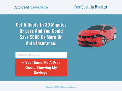 "Free Insurance Quotes Free ""insurance Clean Auto Quote"" Sales Funnel  Landing Page ."