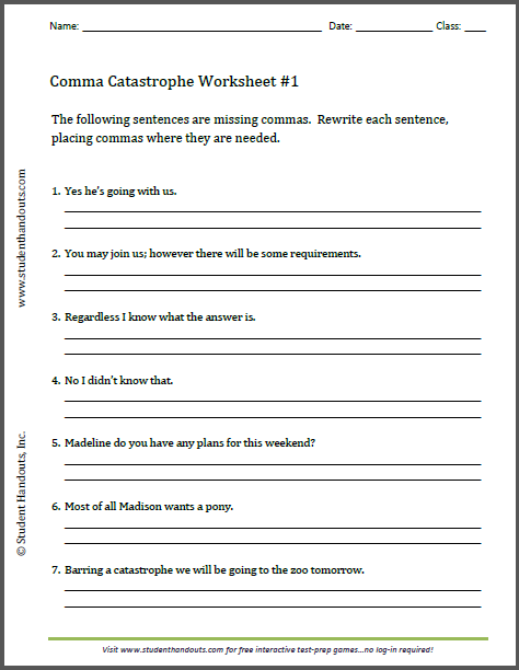 This free printable worksheet asks students to insert commas where ...