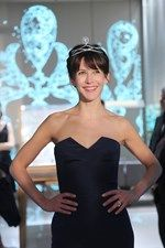 Model Sophie Marceau wearing the 12 Vendôme collection tiara, series No 1, in platinum and diamonds, set with a central pear-cut diamond weighing 5.05ct, by Chaumet.