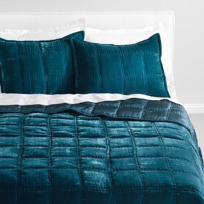 Atlantic Blue Luxe Velvet Quilt V1 Velvet Bed Luxury Bedding Bed Linen Design