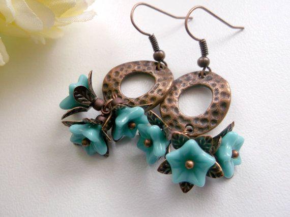 Mint flower earrings flower dangle floral earrings by BeAliter