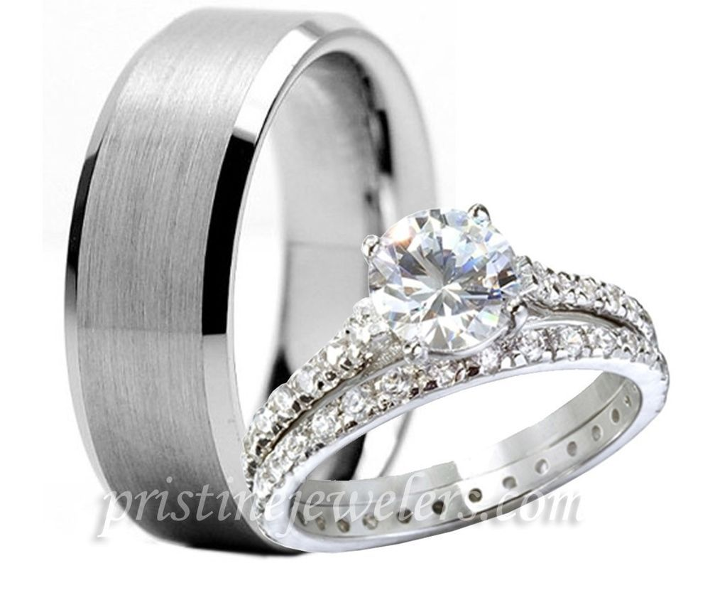 Delicieux His U0026 Her Womens 925 Sterling Silver Wedding Ring Mens Tungsten Band 3pc  Set NEW