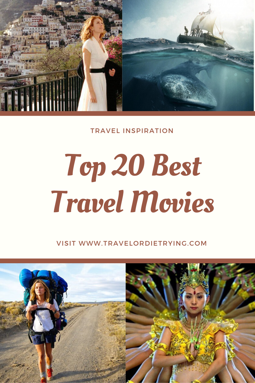Here is a list of the best travel movies of all time. You can watch these super cool films over & over again, and never get sick of them. #travel #movies #travelmovies #travelinspiration