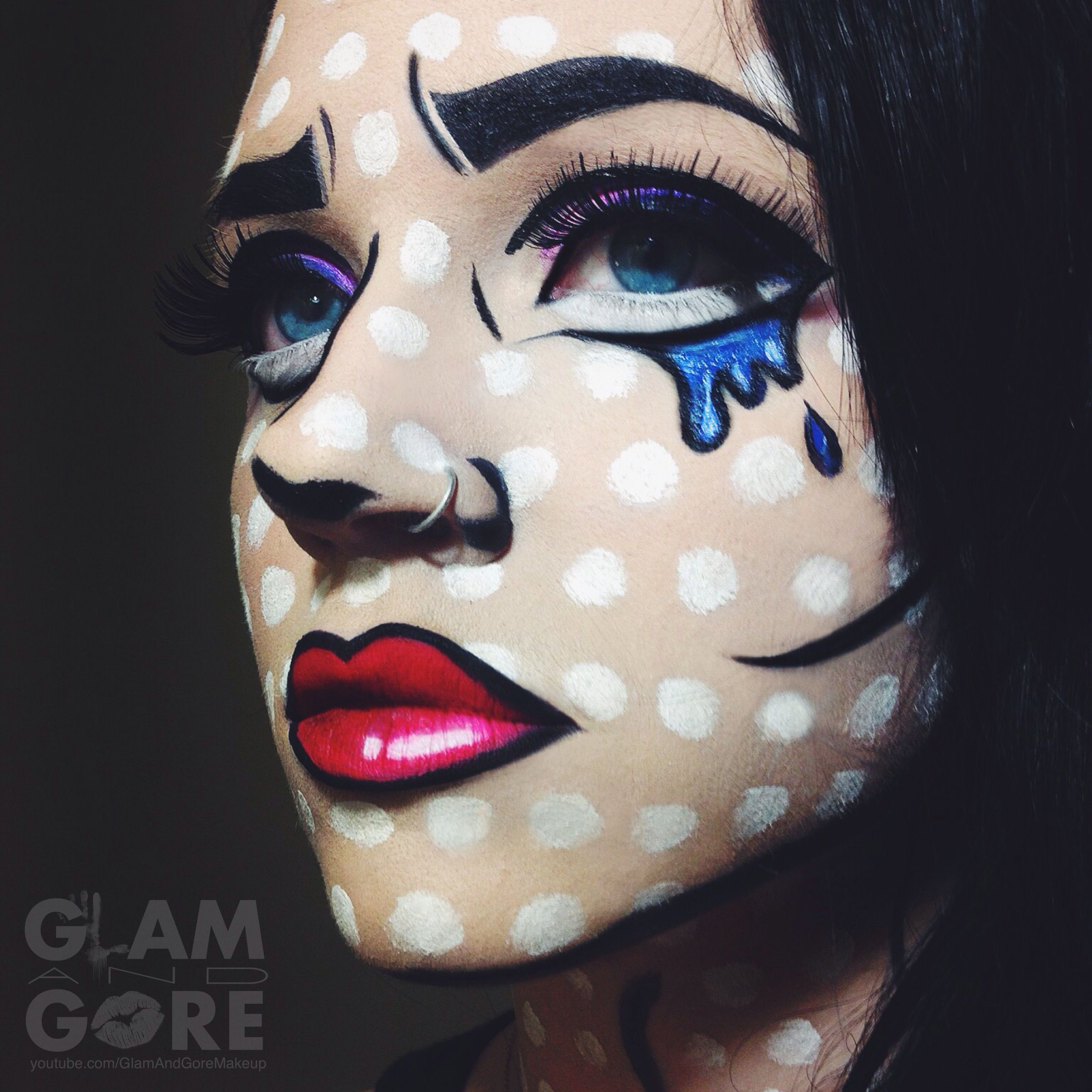 Comic Book Pop Art Inspired Face Paint For More Makeup Looks And Tutorials Www Instagram Com Mykie Pop Art Makeup Pop Art Makeup Tutorial Pop Art Costume