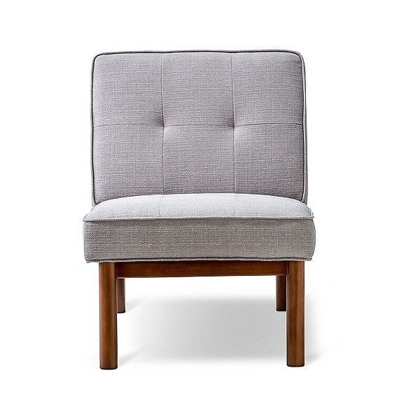 Durham Danish Slipper Chair ($230) ❤ liked on Polyvore featuring home, furniture, chairs, accent chairs, grey, grey chair, colored chairs, threshold chairs, gray chair and threshold slipper chair