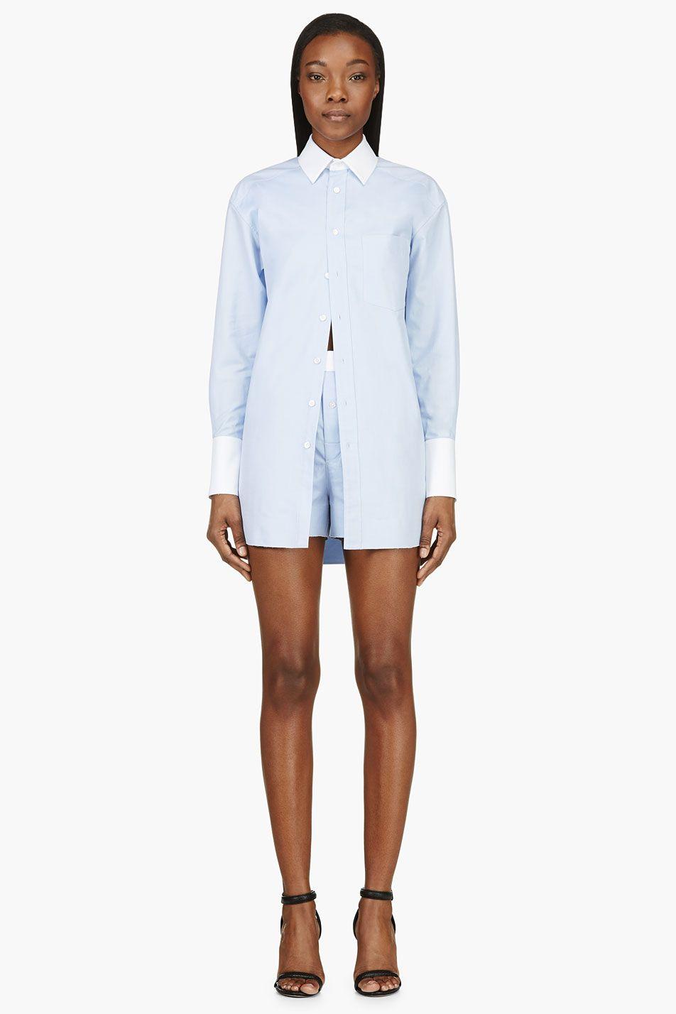 Alexander Wang Blue Winchester Shirt Romper for women | SSENSE