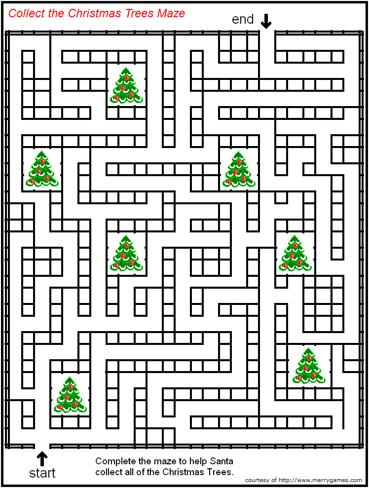FREE Printable Christmas Mazes page 2 - Merry Games ...