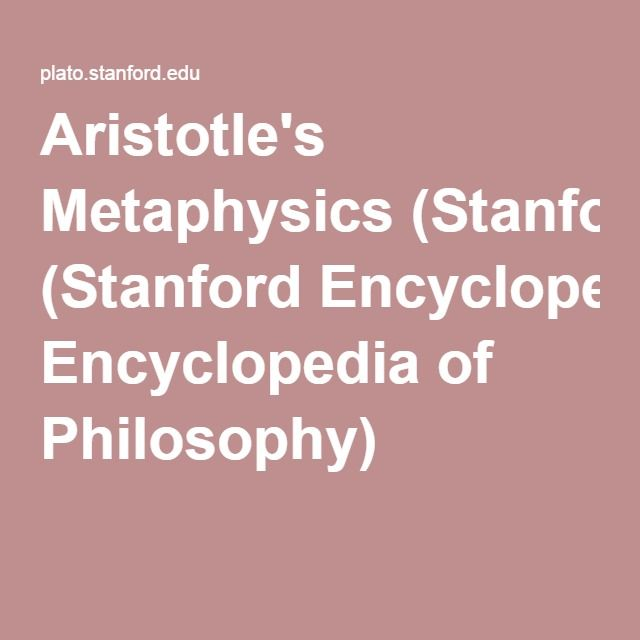 Aristotle's Metaphysics (Stanford Encyclopedia of Philosophy)