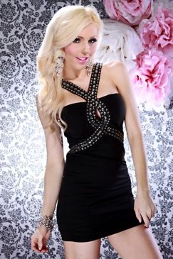 Black fitted mini dress with gemstones