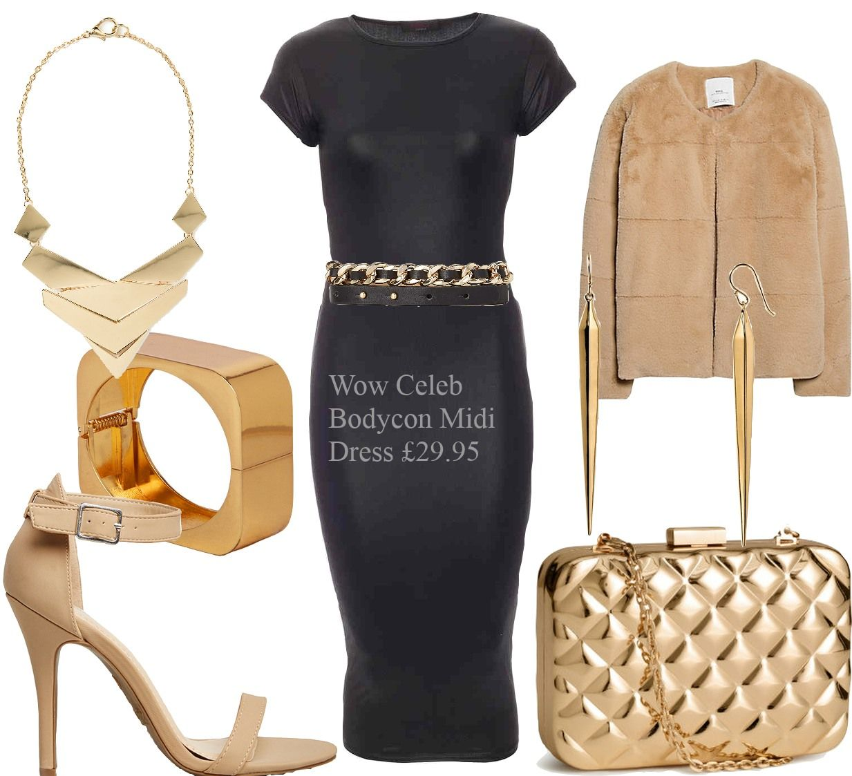 Celeb Inspired Black Leatherette Bodycon Dress