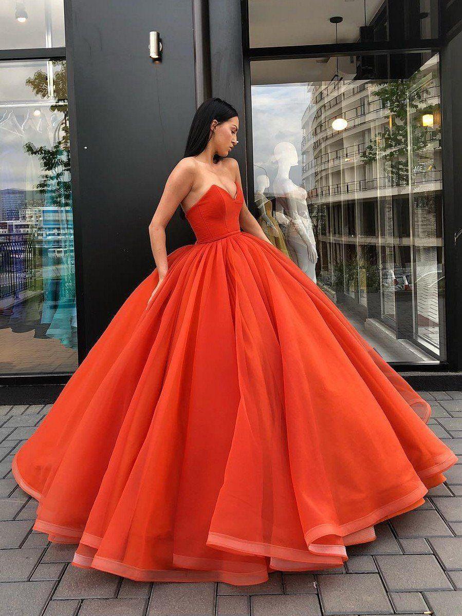 Orange Ball Gown Fairy Prom Dresses Corset Neck Evening Party Gowns Robe De Bal Robe De Reve Robe Sophistiquee [ 1200 x 899 Pixel ]