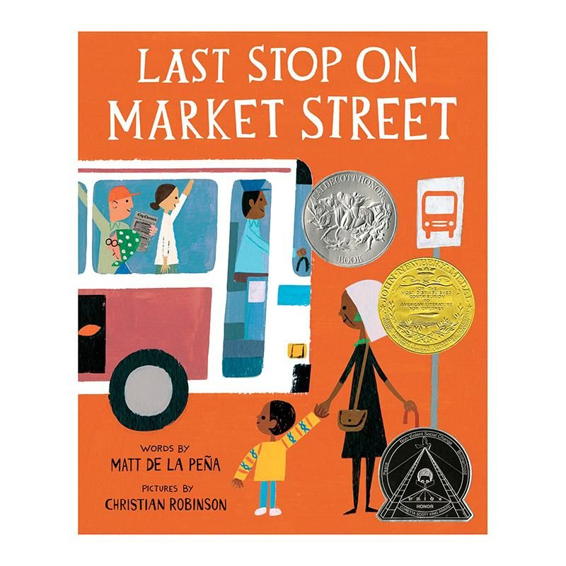 From an award-winning pair of picture book collaborators, Matt de la Pena and Christian Robinson, readers take a trip through a vibrant urban town with a boy and his grandma. Every Sunday after church, CJ and his grandma take the bus across town. But on this particular day, CJ wonders why they can't ride in a car like his friend Colby. Why can't he have an iPod like the boys on the bus? How come they always have to get off in the dirty part of town? Each new question is met with an encouraging answer from grandma, who needs a car when you can ride a bus that breathes fire, who needs headphones when there's a guitar player right next to you, and who wants to go straight home after church when you can spend time with friends and neighbors at the soup kitchen. CJ's grandma helps him see the beauty in their routine and the world around them.