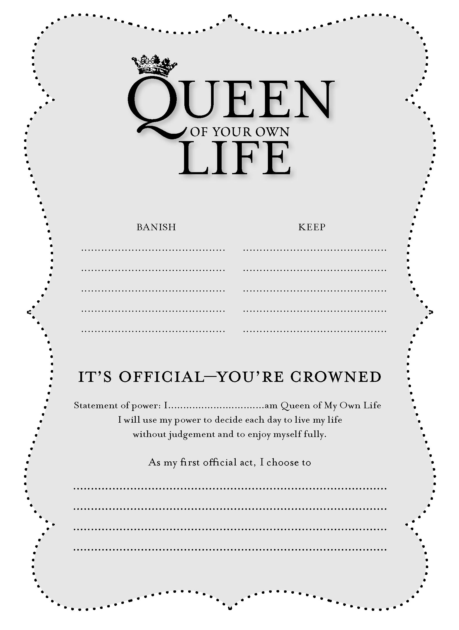 YOU'RE CROWNED certificate