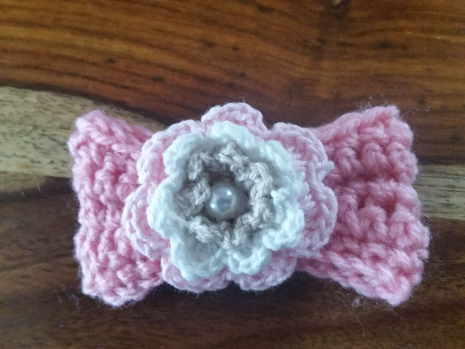 Hand Crochet flower bow brooch by Twiddliebits on Etsy