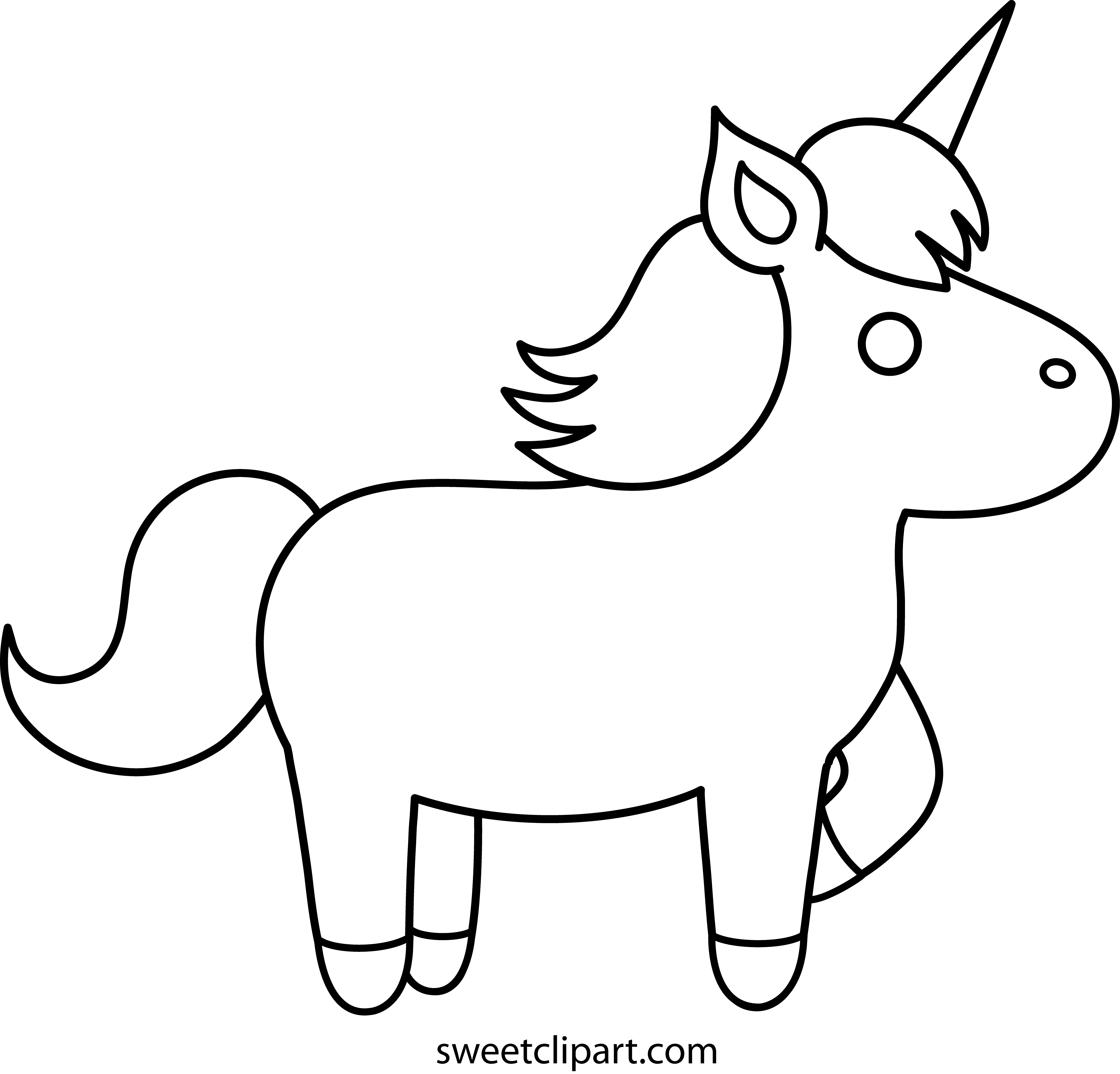 easy unicorn coloring pages Simple Unicorn Outline