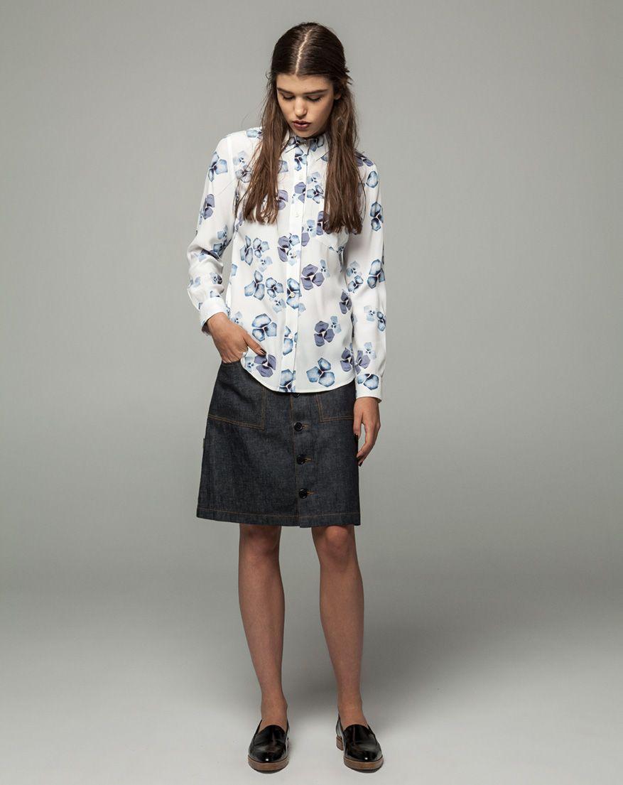 Workshop Denim  Sophie Shirt - Ecru Print, Christy Denim Skirt - Indigo