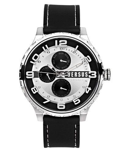 50mm Globe Oversized Chronograph Watch, Silver/Black