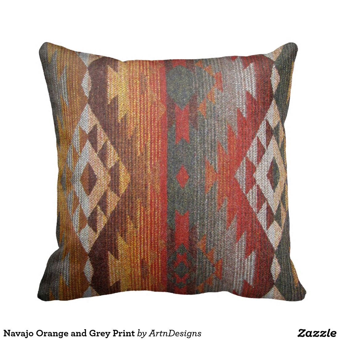 Navajo Orange and Grey Print Throw Pillow