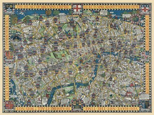 1920s london wonderground vintage style london street map 24x32