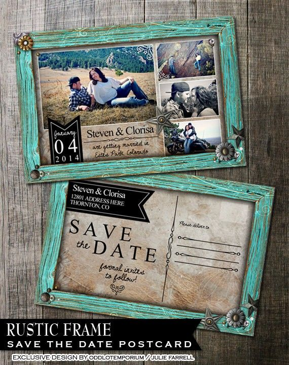 rustic save the date postcard country rustic turquoise frame photo