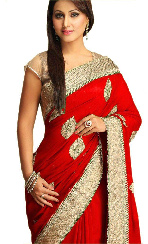 be76b30733 New Akshara Bollywood Designer Georgette Embroidered Red Sarees/Sari   eBay