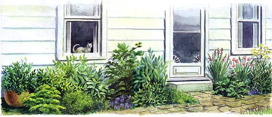 use one of these four simple garden designs to grow kitchen herbs organic gardening - Simple Kitchen Herb Garden