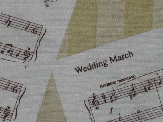 Wedding March FabricSheet Music on GoldCake by ginnyandco on Etsy, $24.00