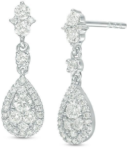 6df4e4e55 Zales 5/8 CT. T.W. Composite Diamond Pear-Shaped Drop Earrings in ...