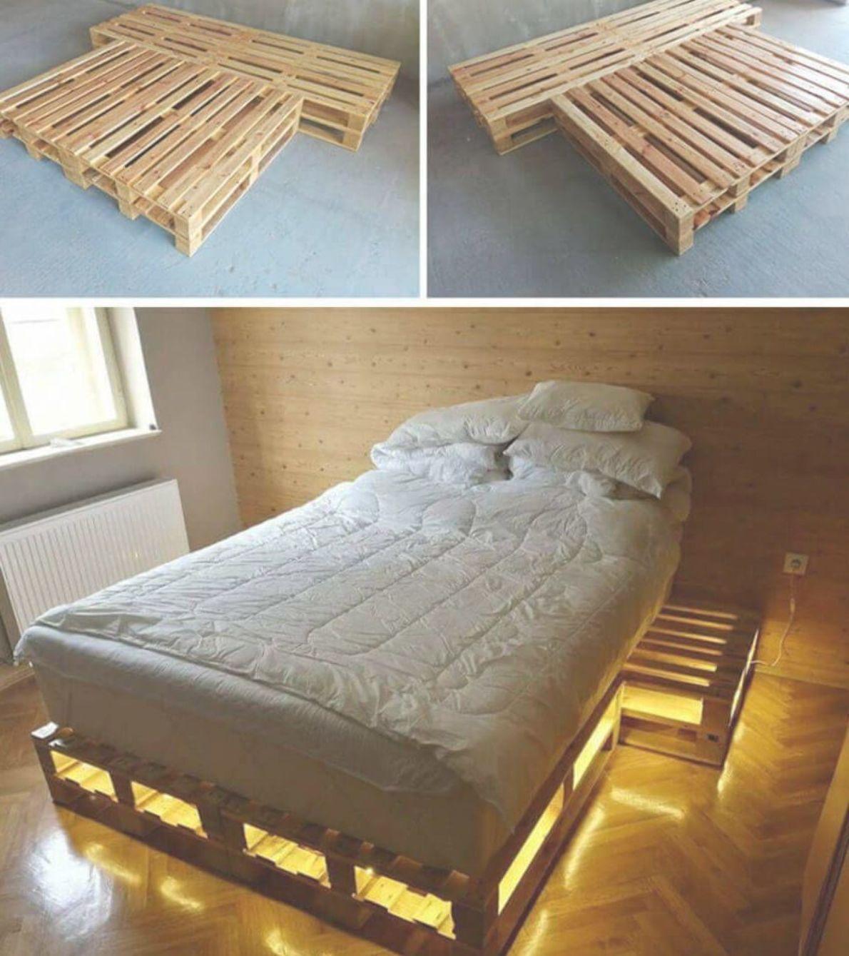 Cool Pallet Bed Frame With Lights Diybedframe Platformbedframe