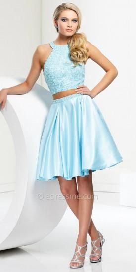 Two Piece Satin Beaded Homecoming Dress by Tony Bowls Shorts  #twopiece #twopiecedresses #dresses #fashion #style #glam #prom
