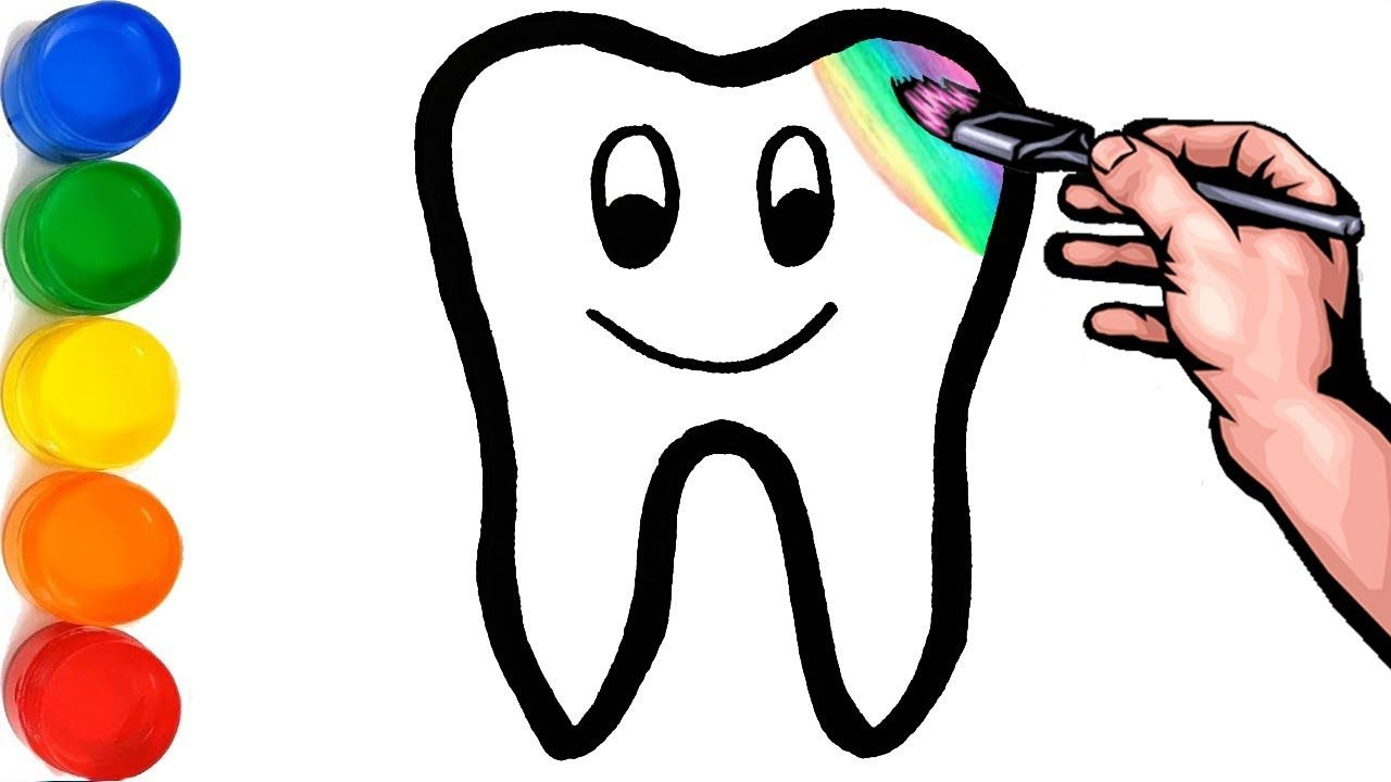 Glitter Toy Tooth & Toothpaste coloring and drawing for