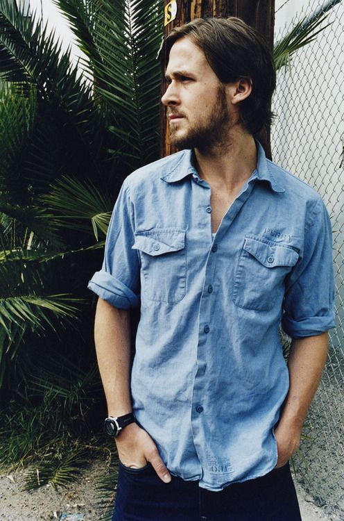 Perfect Gosling - handsome in blue shirt