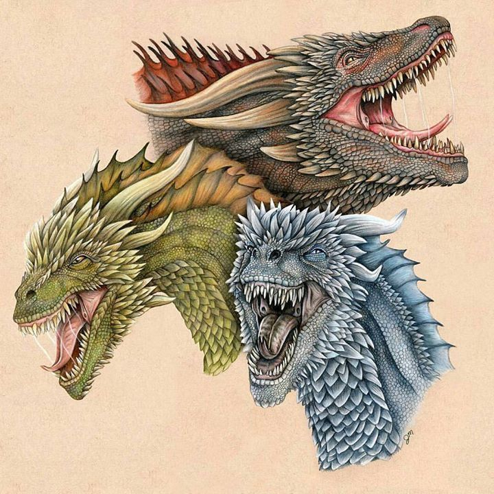 Drogon, Rhaegal and Viserion #gameofthrones