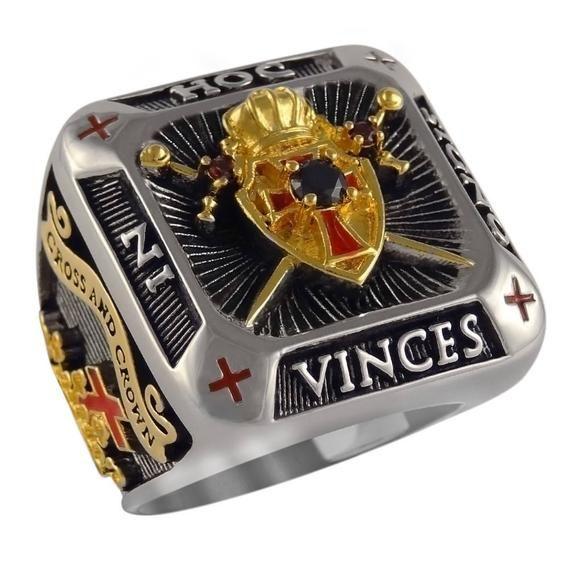 Photo of Handmade Knight Templar Masonic Ring 18k White and Ge …