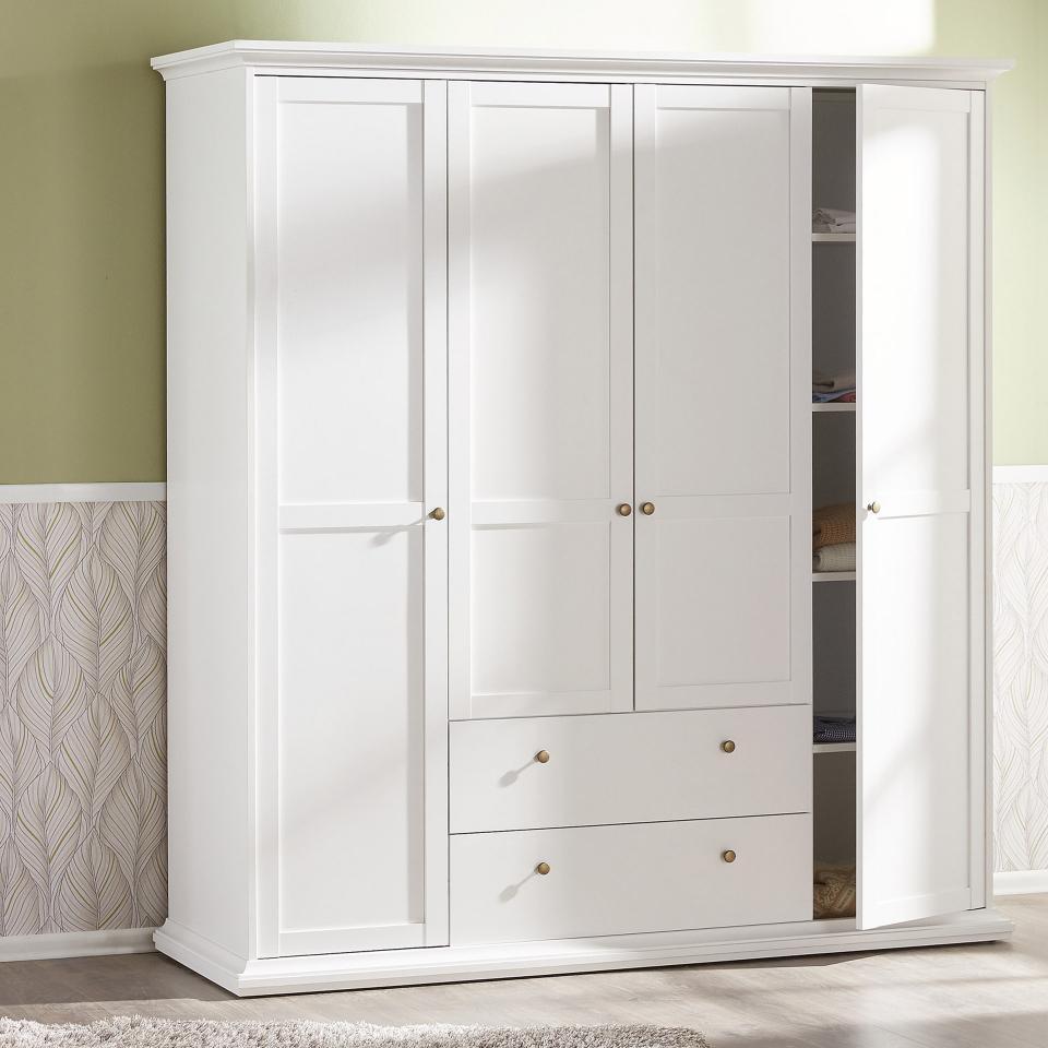 Kleiderschrank Pariso (4türig, 2 Schubladen, weiß