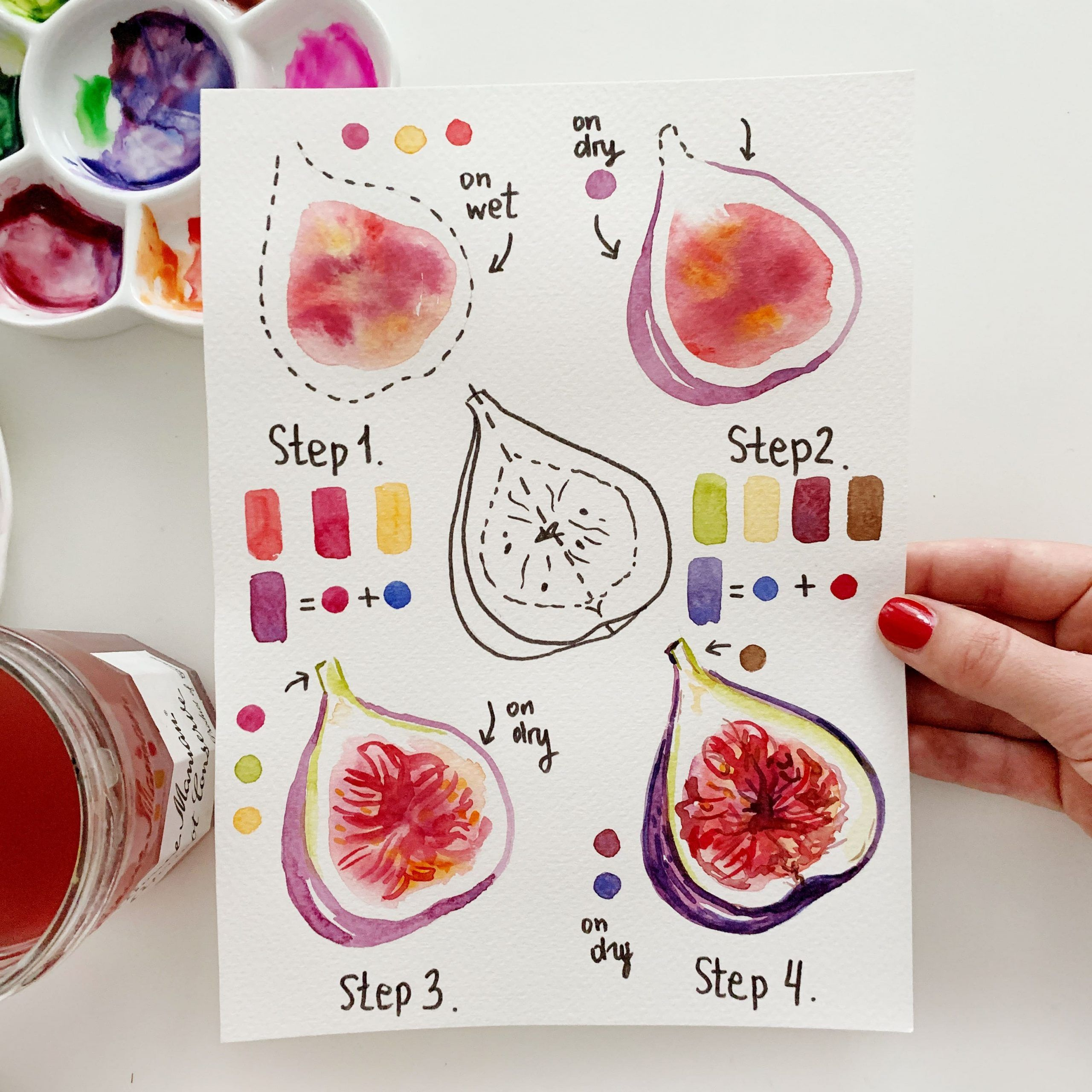 Colorful and yummy fig with watercolor (stepbystep