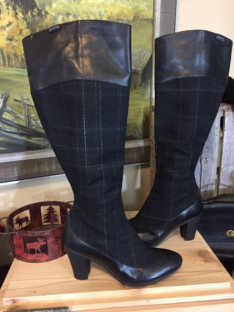 21fde48d8 Camper Helena Alto 38 Plaid Knee High Leather Boots Heel Mint Rare   eBay