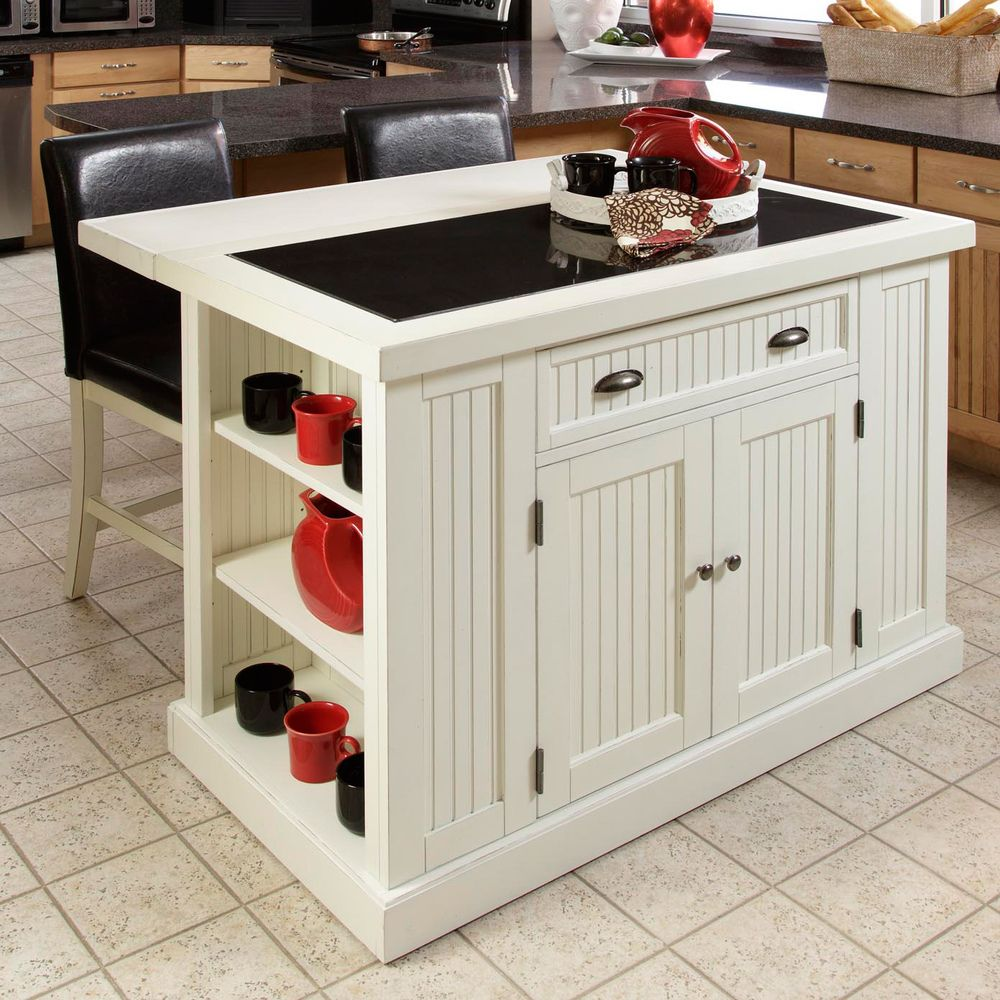 Nantucket Distressed White Finish Kitchen Island with Two Bar Stools ...
