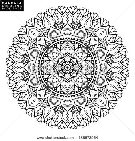 Flower Abstract Coloring Pages : Mandala vector floral mandala flower oriental