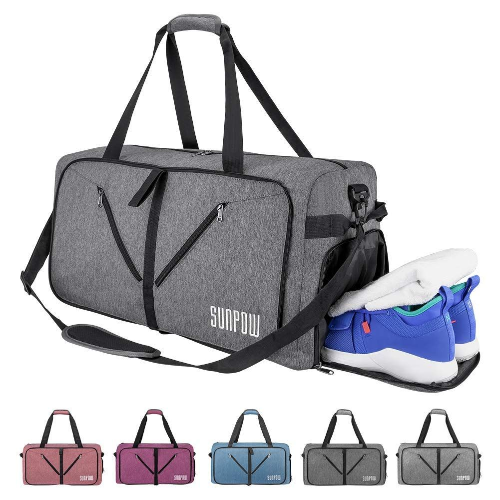 SUNPOW 65L Travel Duffle Bag, Foldable Sport Gym Bag with Shoe Compartment,  Lightweight Luggage bff505bad5