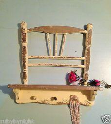 Vintage cream chair shelf wall unit