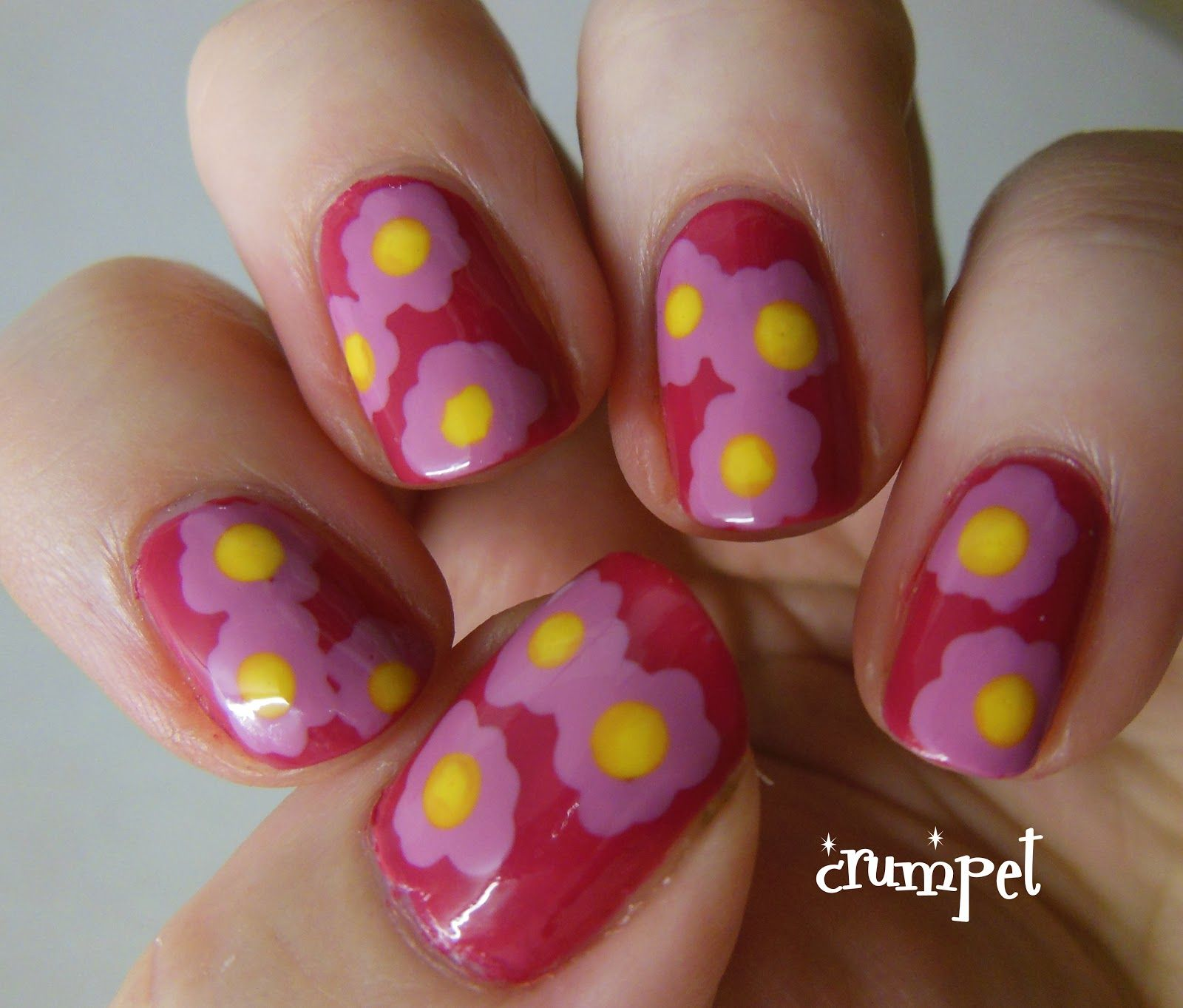 The crumpet go pink wednesday flowers nails pinterest
