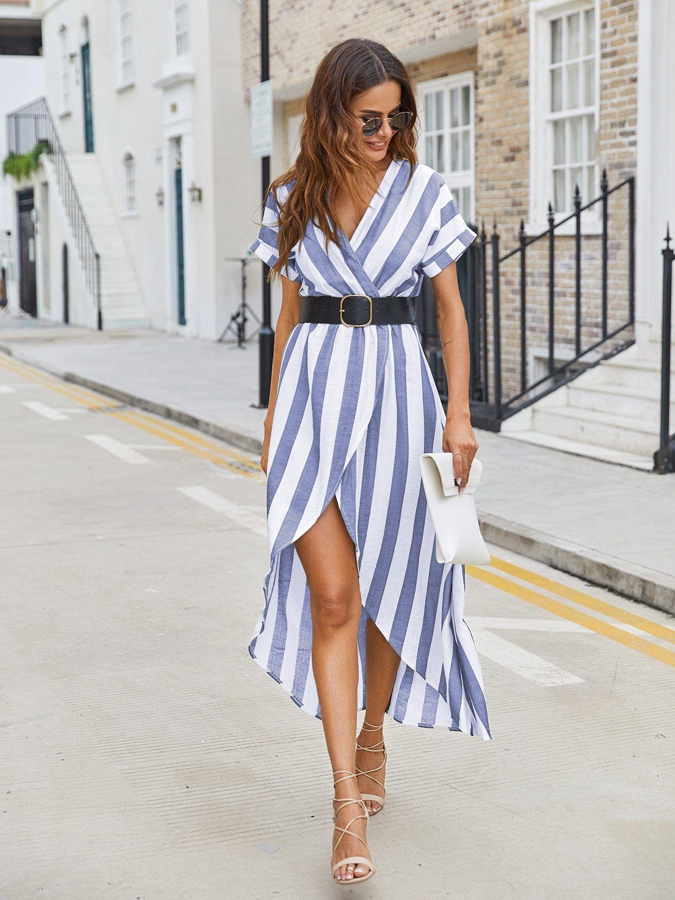 Blue And White Striped Tulip Hem Wrap Dress With Belt Ds1394748 Dresses High Low Shirt Dress Wrap Dress [ 1785 x 1340 Pixel ]