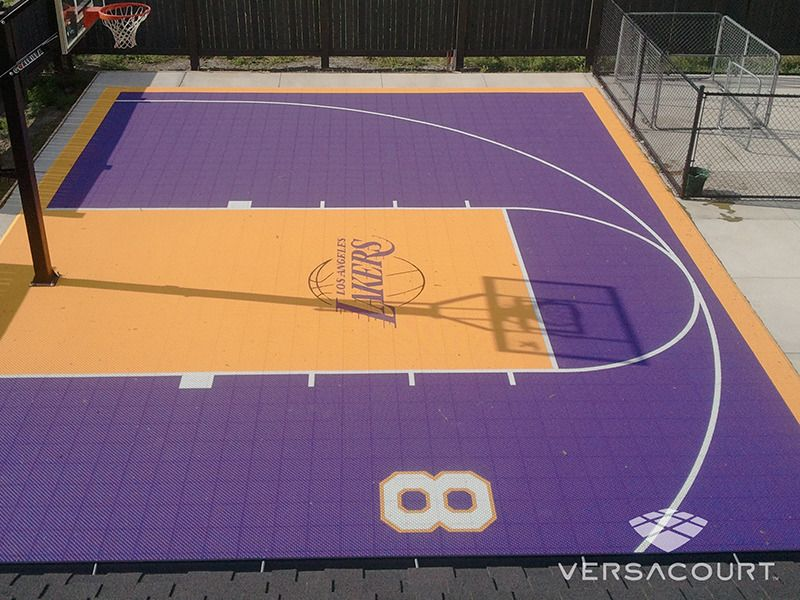 Half Court In La Lakers Colors Basketball Court Backyard Backyard Basketball Home Basketball Court
