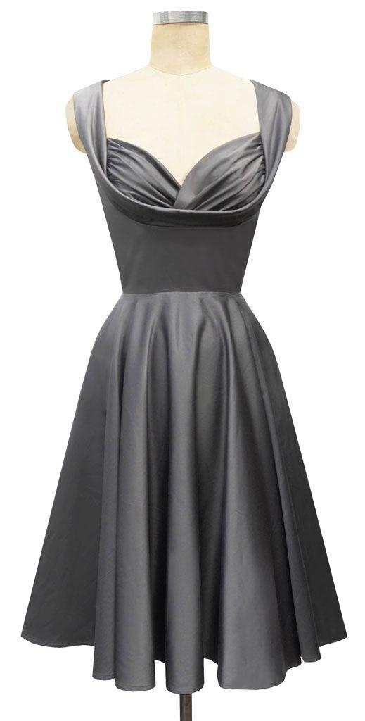 $163 Vintage inspired grey bridesmaid dress #Vintage #Inspired #Grey #Gray #Bridesmaid #Maid #Brides #Dress #Pin #Up #fifties #Rockabilly