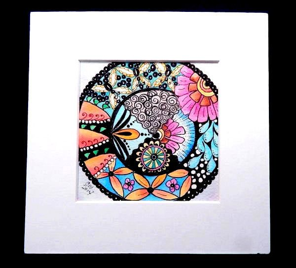 "ORIGINAL Watercolor  Art Garden Mandala Flowers Zentangle 4x4"" Painting MATTED"