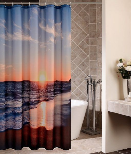 Goodbath Sunset Ocean Beach Shower Curtain With Images Beach