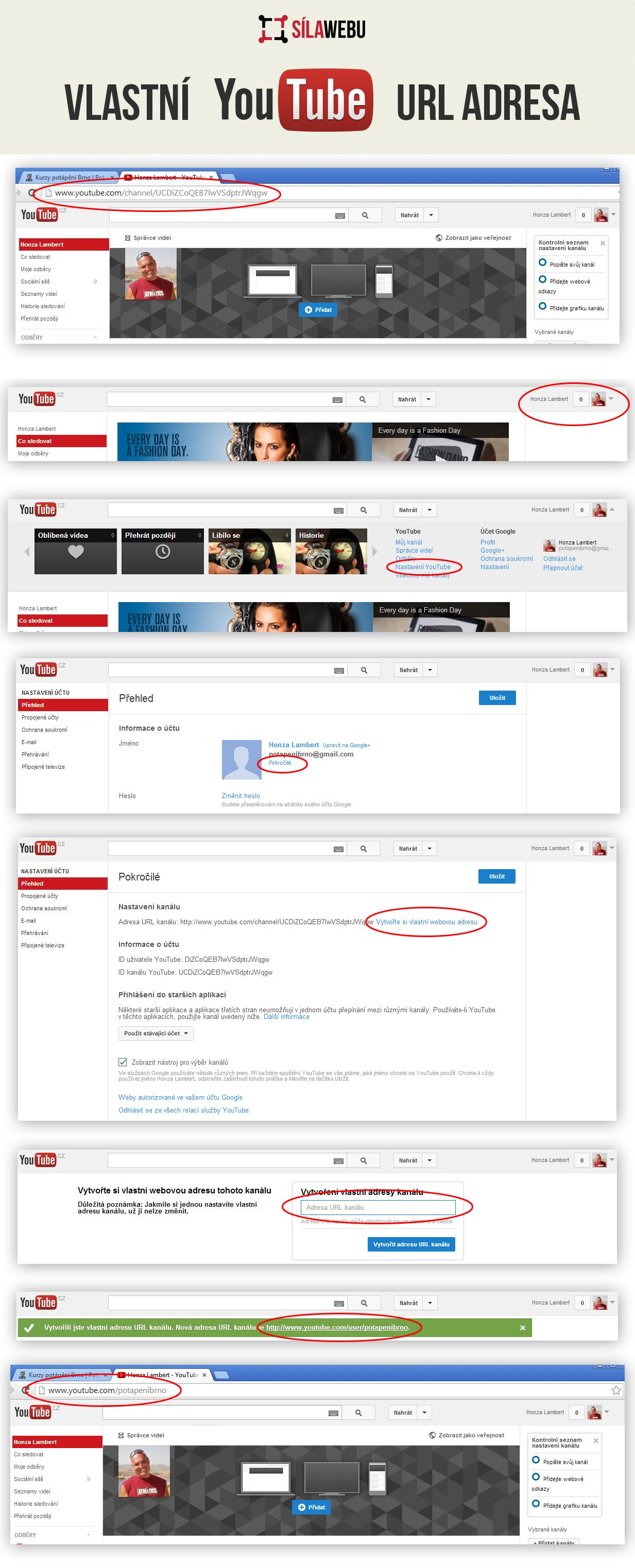 Jak změnit URL adresu vlastního kanálu YouTube.