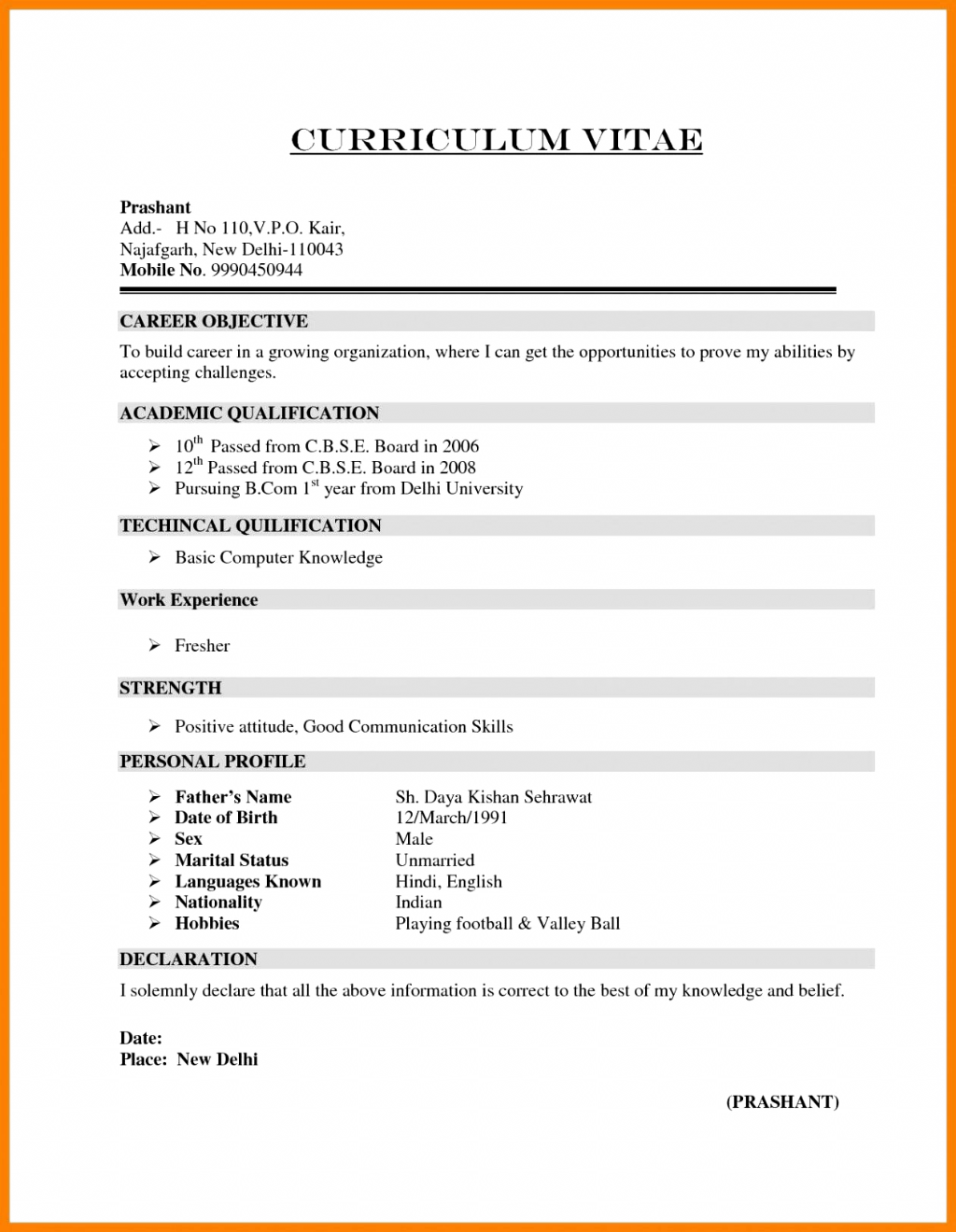 simple resume format download in ms word for fresher