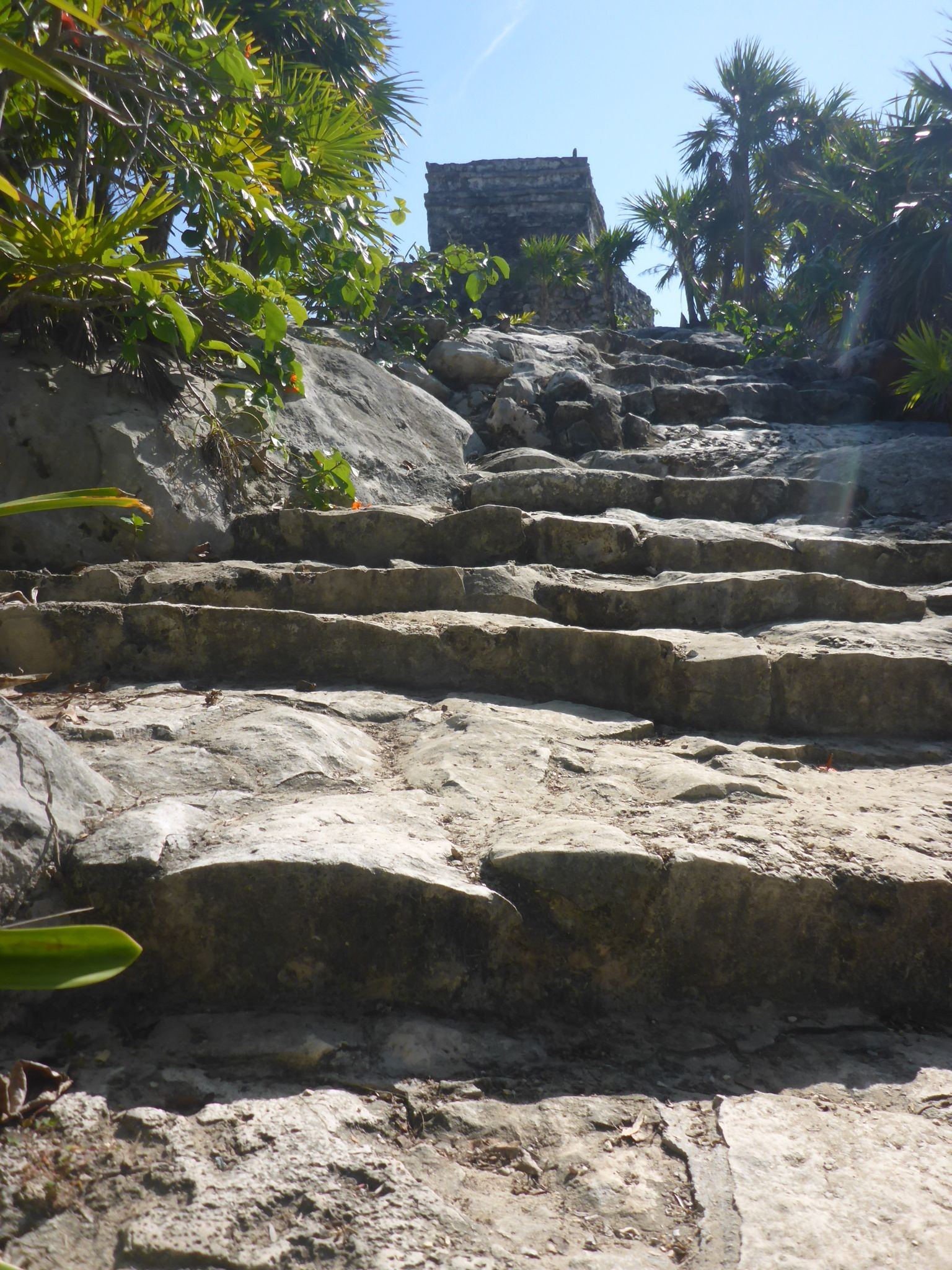 Steps to Wind God temple, Tulum
